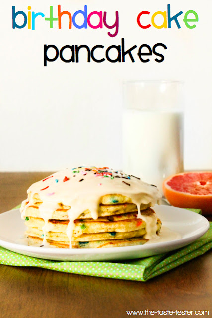 Birthday Cake Pancakes www.the-taste-tester.com #recipe #birthday