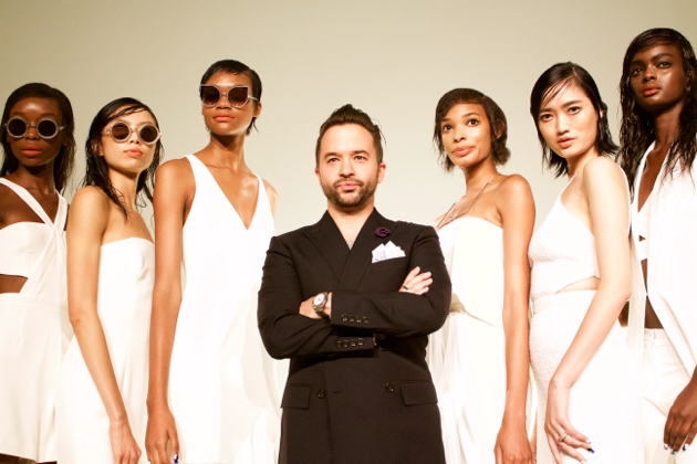 Jay Godfrey poses with models, SS16 Presentation