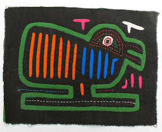textile bird on black with green orange and blue lines