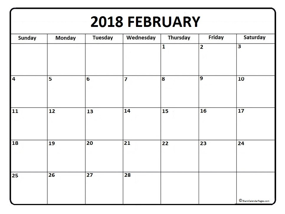 February  Monthly Calendar Printable Templates  Printable