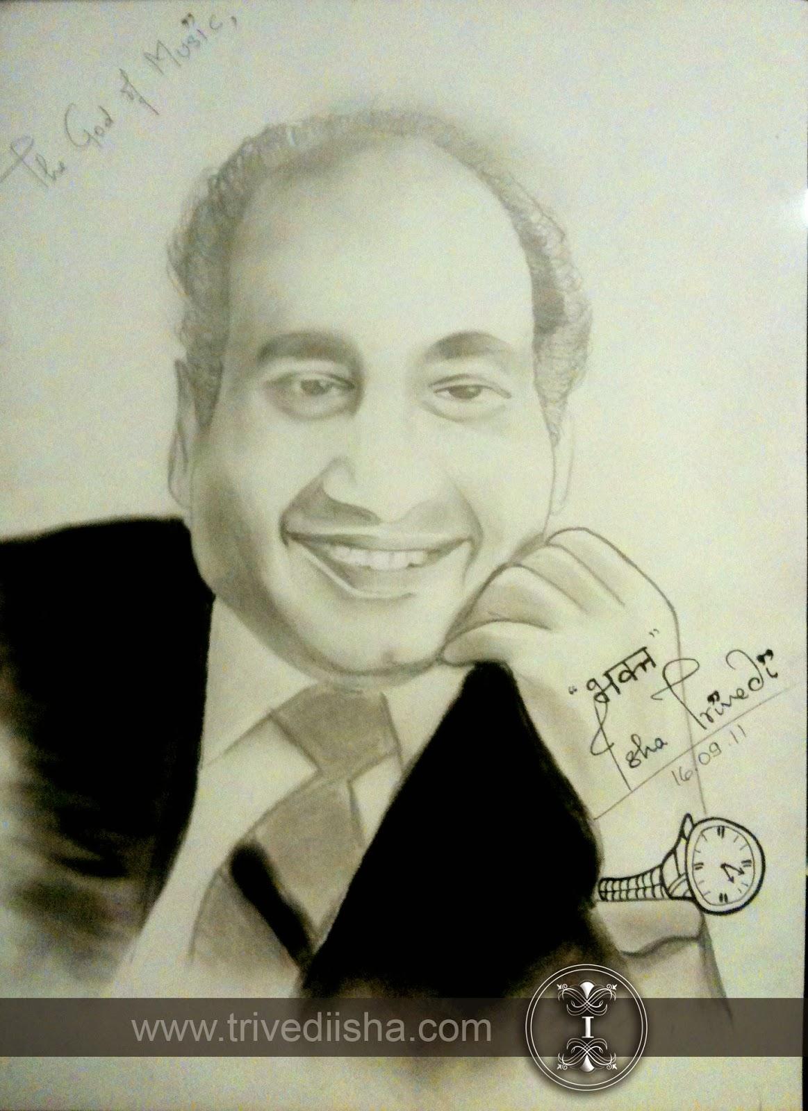 "Mohd Rafi Sahab Sketched by Isha Trivedi ""Isha Trivedi"""