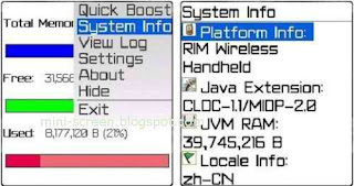 MemoryUp RAM Booster Blackberry Application Tool