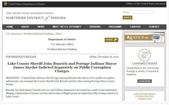 Portage Indiana Mayor James Snyder - Indicted for public corruption - NEWS ARTICLES
