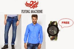 Flying Machine Apparels & Accessories: On Cart Value of Rs.4999 or above Get FREE Flying Machine Multi Analog Watch + Extra 32% Off or 30% Off @ Jabong