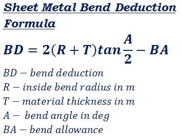 Bend Deduction Formula