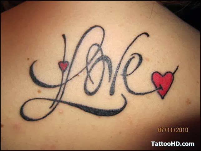 Love and Heart tattoo on upper back body
