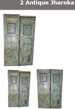 Antique Jharoka Hand carved patina doors