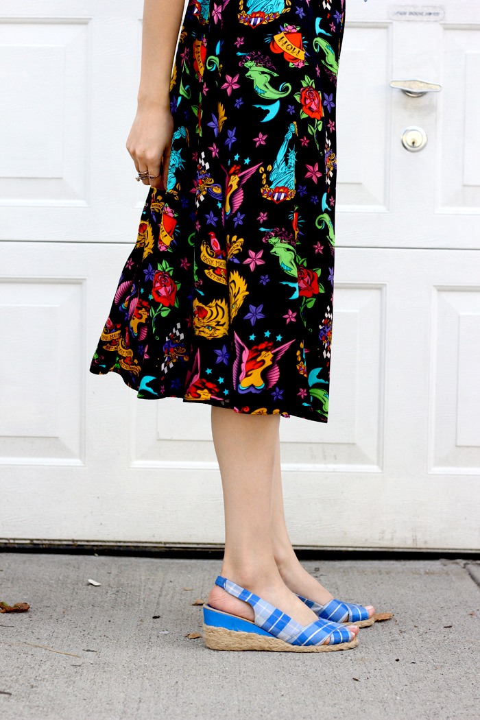 vintage dress and espadrilles
