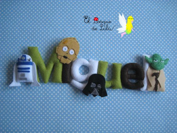 nombre-decorativo-fieltro-star-wars-Miguel-decoración-infantil-regalo-nacimiento-name-banner-nombre-de-fieltro-c3po-r2d2-yoda-la-guerra-de-las-galaxias-personajes