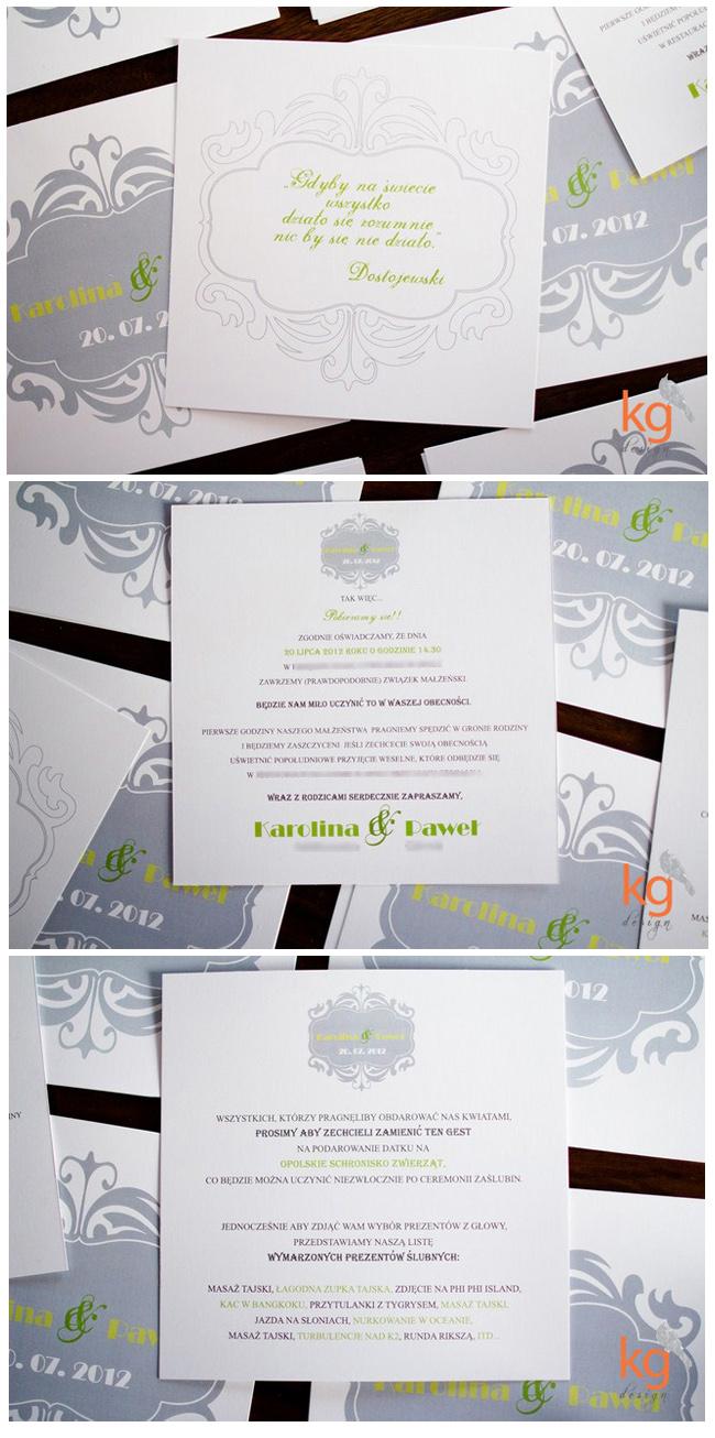 oryginalne, nietypowe zaproszenie ślubne,ornament, pistacjowy, szary, zielony, wstążka, RSVP,dodatki ślubne, zielony, zielone jabłko,