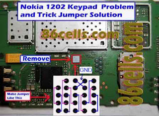Nokia 1202 Light Problem http://udugscell.blogspot.com/2012/12/nokia-1202-trick-jumper-ic-keypad.html