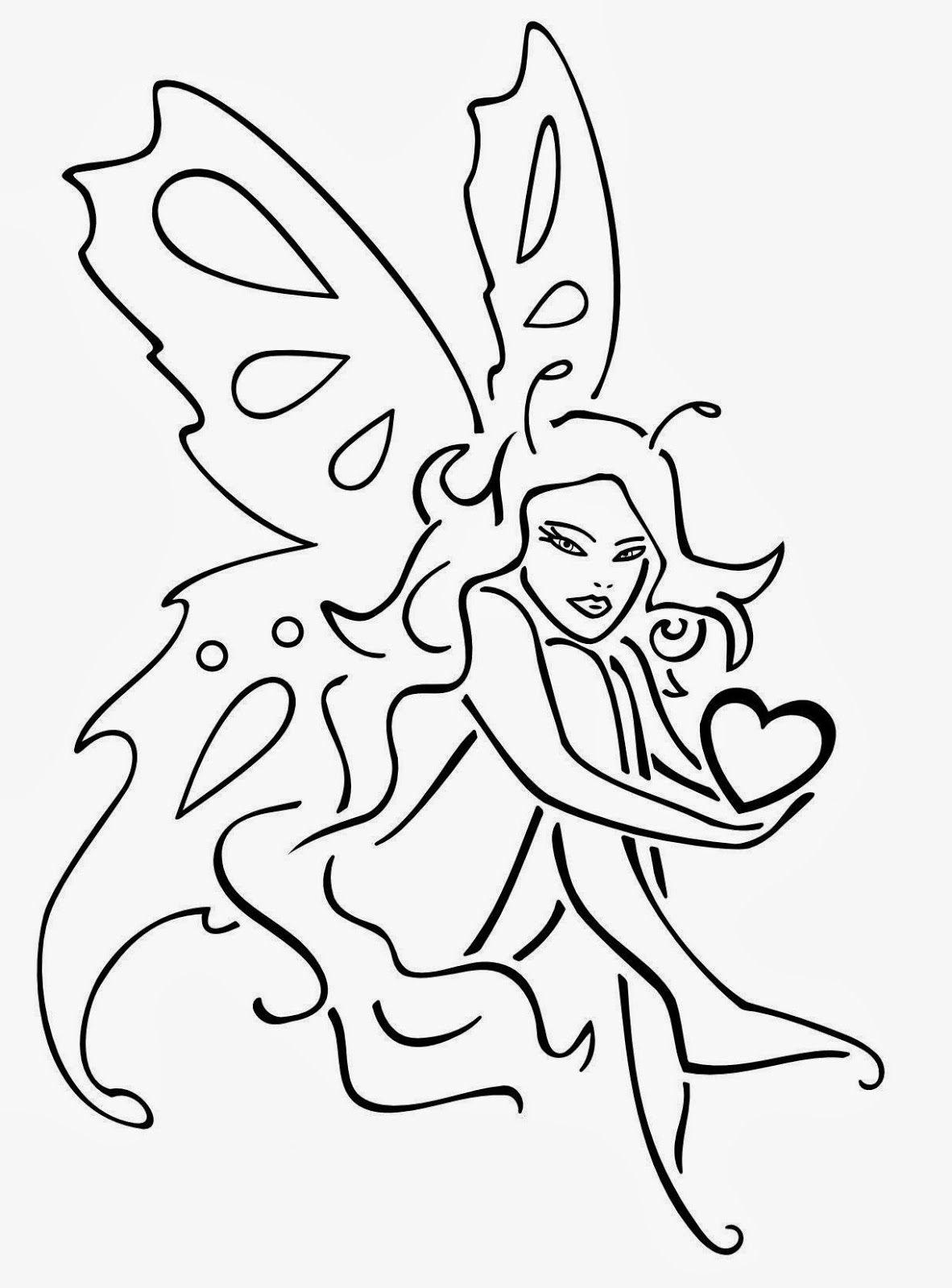 Fairy with heart tattoo stencil