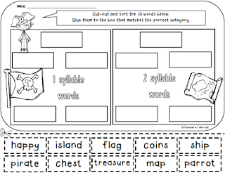 Free Pirate Cut and Paste Worksheet using Syllables