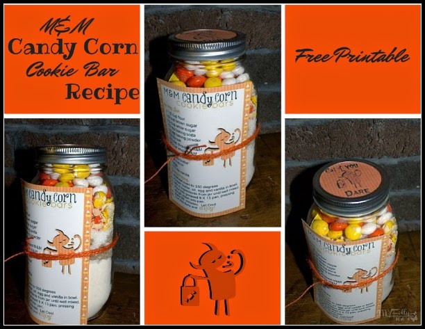 M&M Candy Corn Cookie Bar Jar Recipe & Free Printable/ This and That #printable #Halloween #Masonjar #candycorn