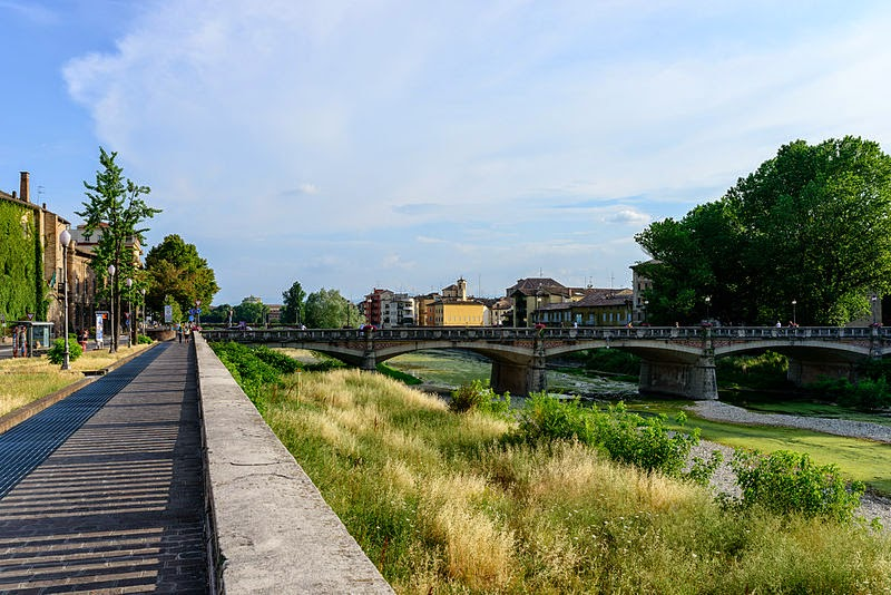Riverside view in Parma