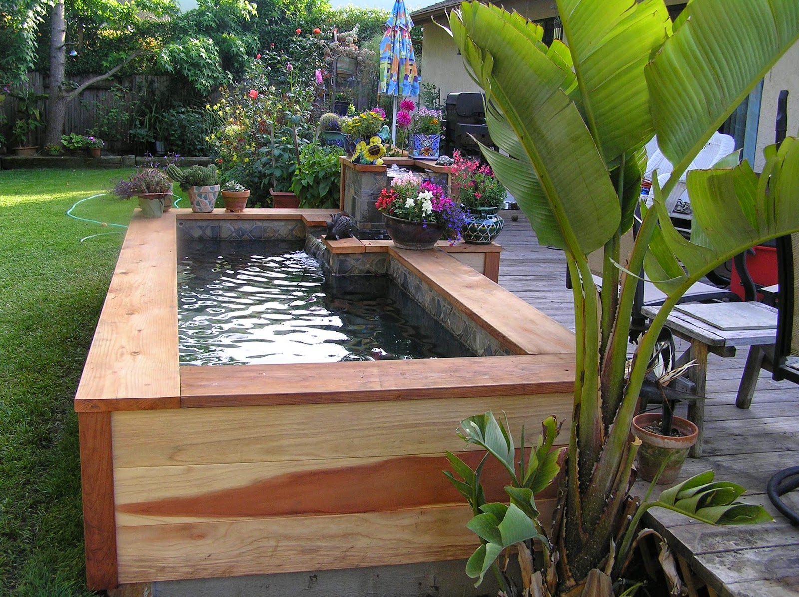 Creative small fish ponds ideas for Patio koi pond