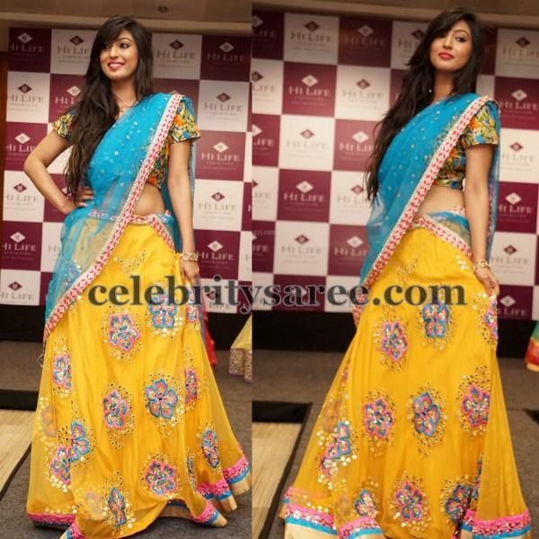 Yellow Thread Work Half Saree