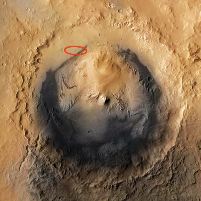 Curiosity MSL lands on Mars. Pictures sent by Mars Reconnaissance Orbiter (MRO) of Curiosity's landing position. 6 August 2012. NASA/JPL.