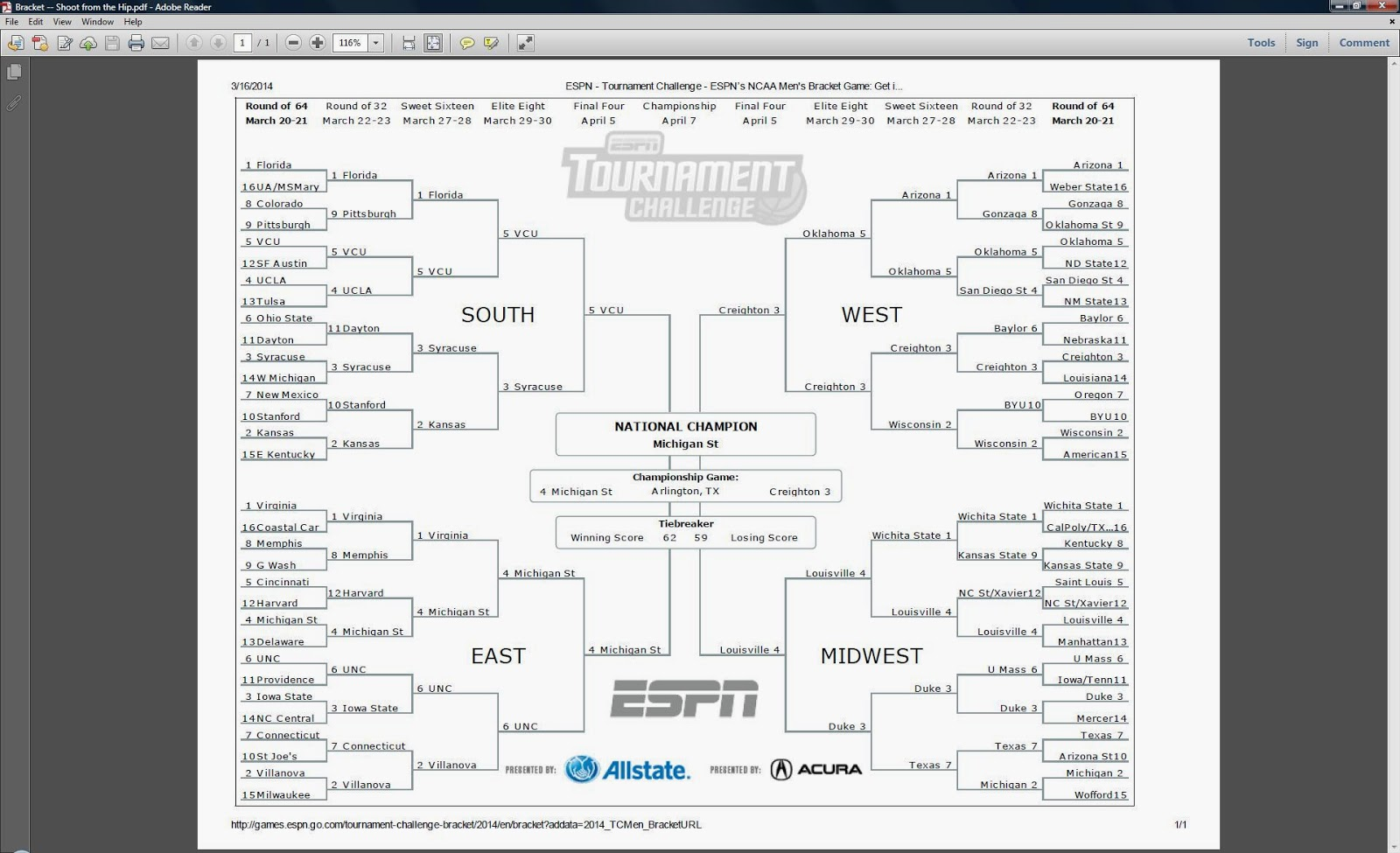 Now That The Media Markets Are Flooded With Braketology I Have Learned This Is Probably Not A Very Smart Bracket Syracuse Reeling And Limping