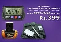 Buy Speedwav 3 in 1 Car Combo of Digital Clock , Dashboard Mat and Amber Perfume Via tolexo
