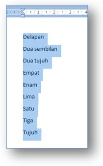 contoh hasil pengurutan data di Microsoft Word 2007