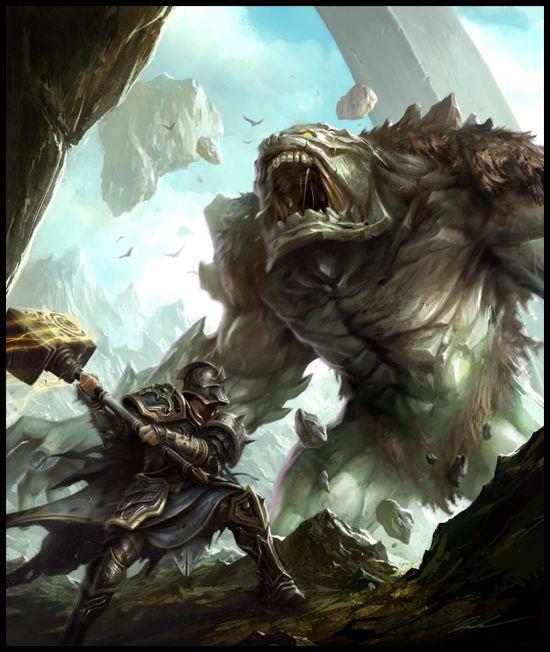 mike lim daarken ilustrações fantasia medieval violência batalhas monstros arte conceitual video games Martelo versus monstro