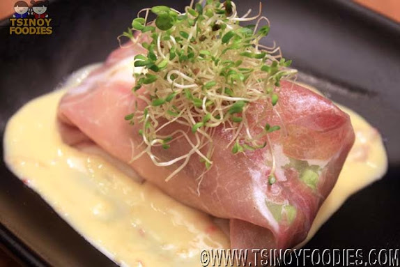 spring roll of proscuitto avocado onsen egg