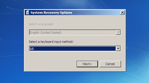 system recovery options dialog