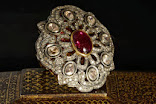 Diamond ring with rubellite