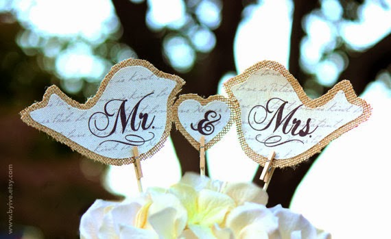 mr and mrs burlap cake toppers wedding byIve