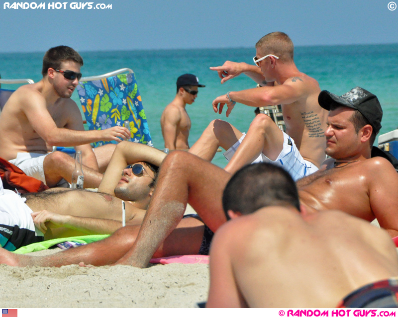 Group of guys on South Beach, Miami