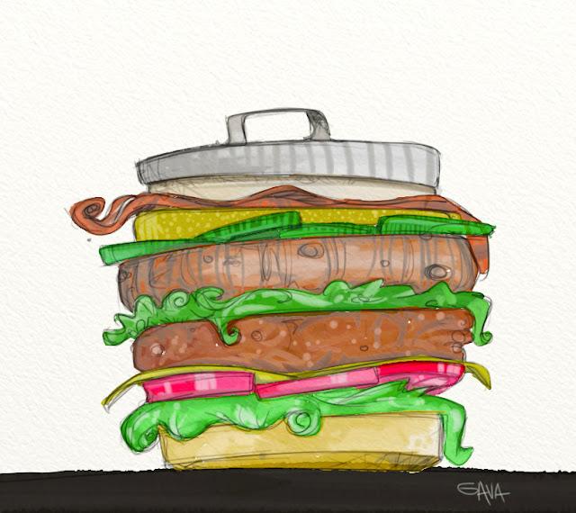 Gava gavavenezia satira vignette illustrazione caricatura fumetto ridere gavagnin marco illustratore disegno  fastfood panino hamburger mcdonald cibo spazzatura