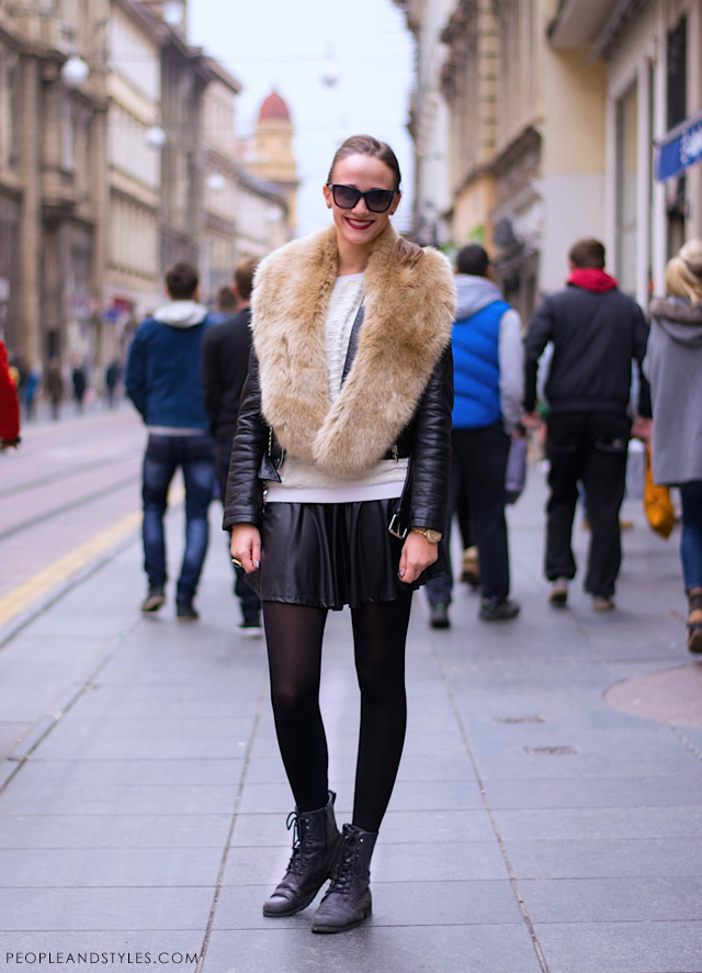 How to style laether look mini skirt, lace up boots and faux fur scarf, photo by PEOPLEANDSTYLES.COM