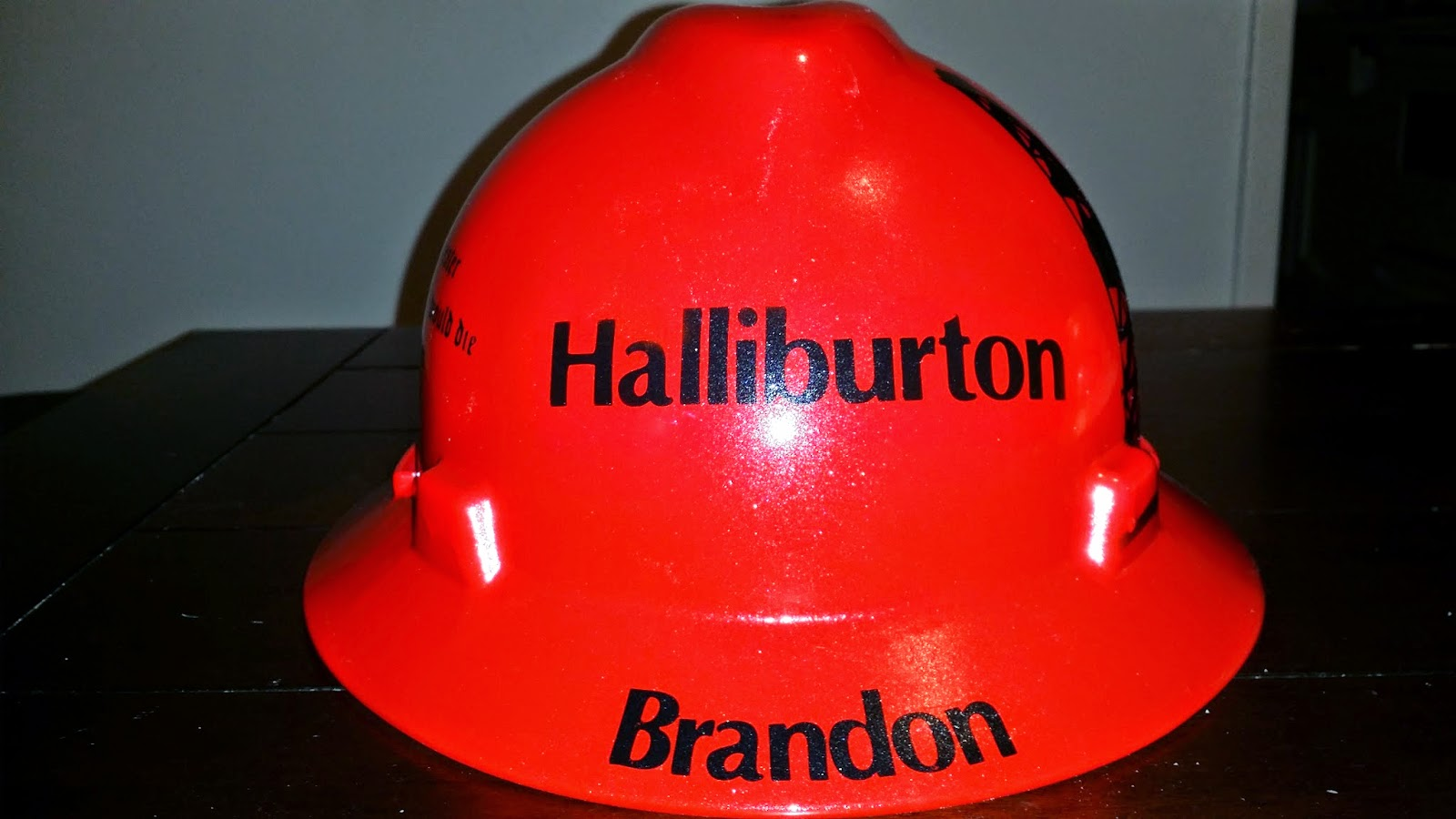 Custom Airbrushed Red Hard Hat Halliburton Oilfield Services