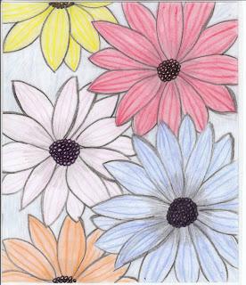 flowers drawing. , Flower Wallpaper