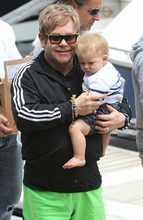 Elton John e seu filho Zachary (Foto: Getty Images)
