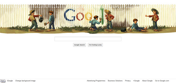 Mark Twain's 176th Birthday Google Doodle, doodle de google, google doodle guitar, google 4 doodle, doodle 4, Mark Twain honored with 'forever' stamp, mark twain wikipedia, wiki mark twain