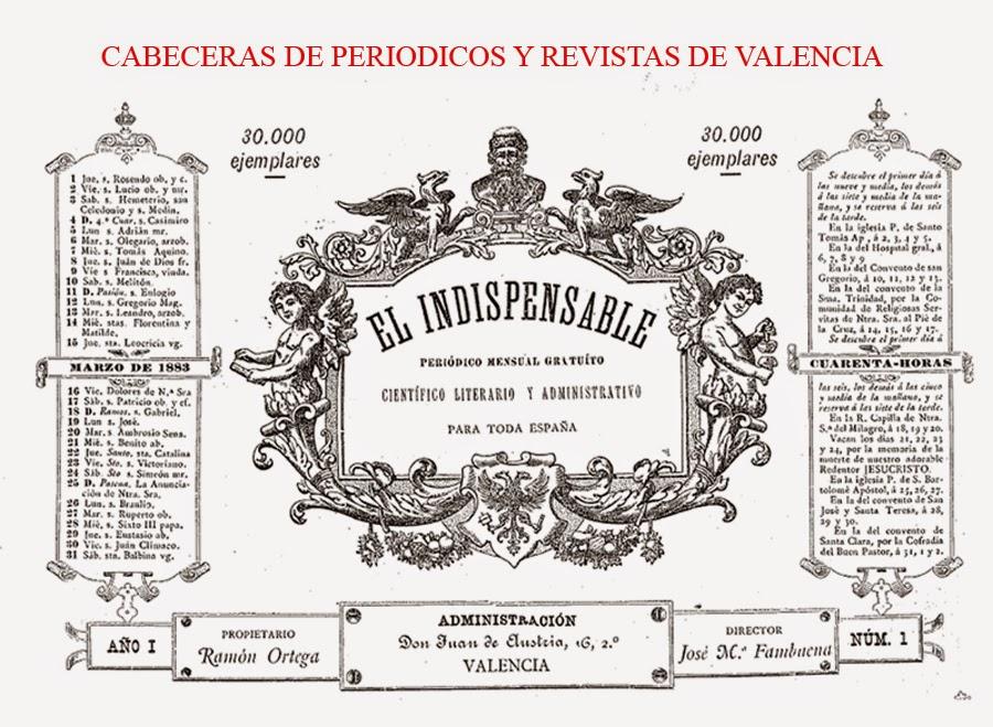 CABECERAS DE PERIODICOS Y REVISTAS DE VALENCIA
