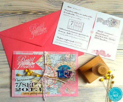 Invitaciones de boda personalizadas mapa + sello
