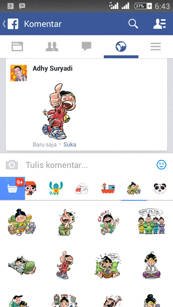 FB Stiker Pada Perangkat Mobile