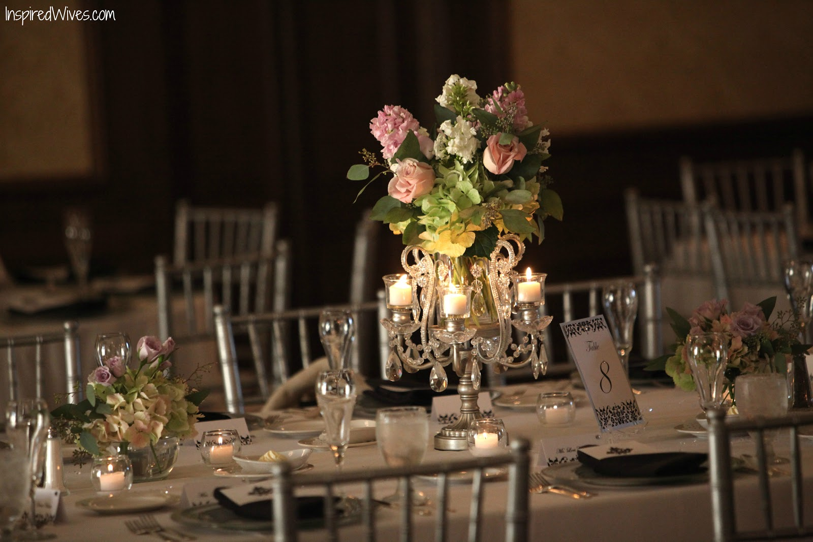 Inspired i dos candelabra wedding centerpieces for Centerpiece arrangements for weddings