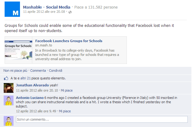 mashable commento gruppi facebook