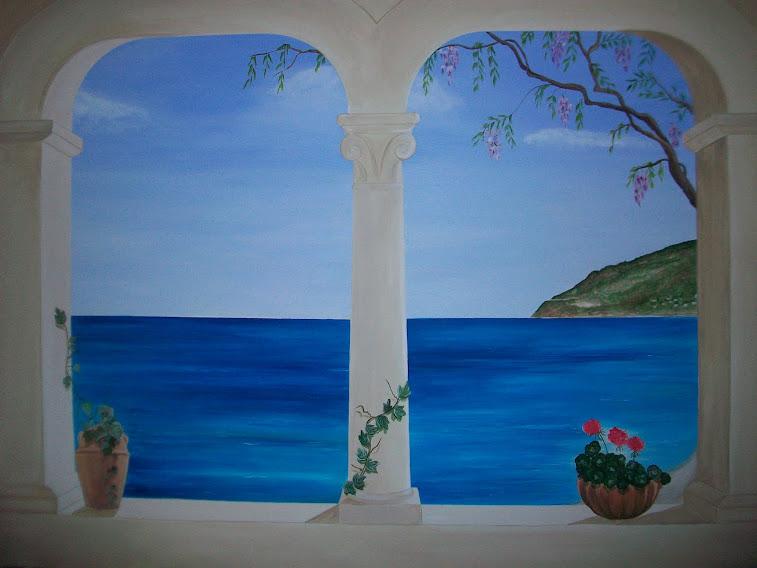 Murales trompe l 39 oeil e decorazione pareti e camerette bambini murales tutte le mie - Trompe l oeil finestra ...