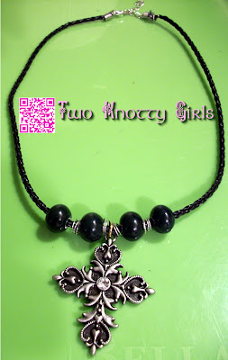 Handmade Necklace - Gothic / Tribal Black Cross with Dark Green Ceramic Beads & Wire Wrapped Coil Spacers