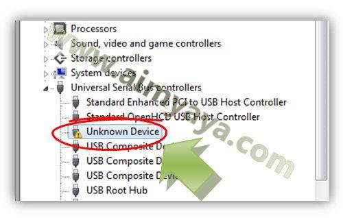 Gambar: Contoh USB flashdisk tidak dikenal (unknown device)