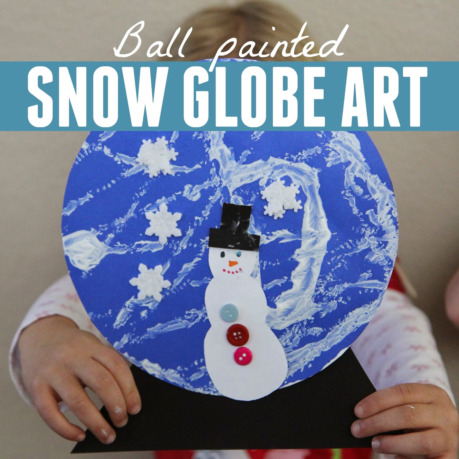 Toddler approved ball painted snow globe craft for Preschool snow globe craft