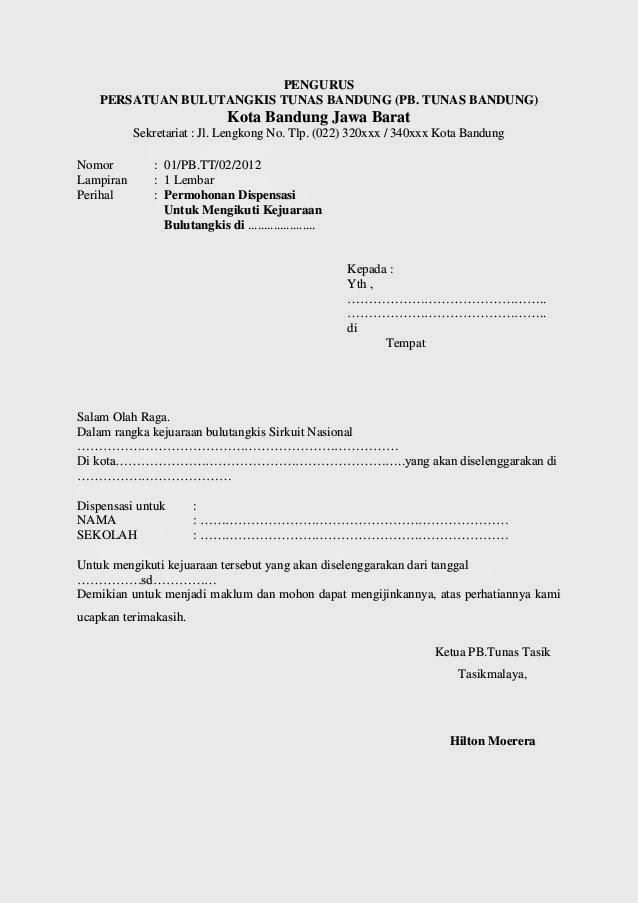 Contoh Surat Dispensasi Mahasiswa Pendidikan Dan Pengajaran