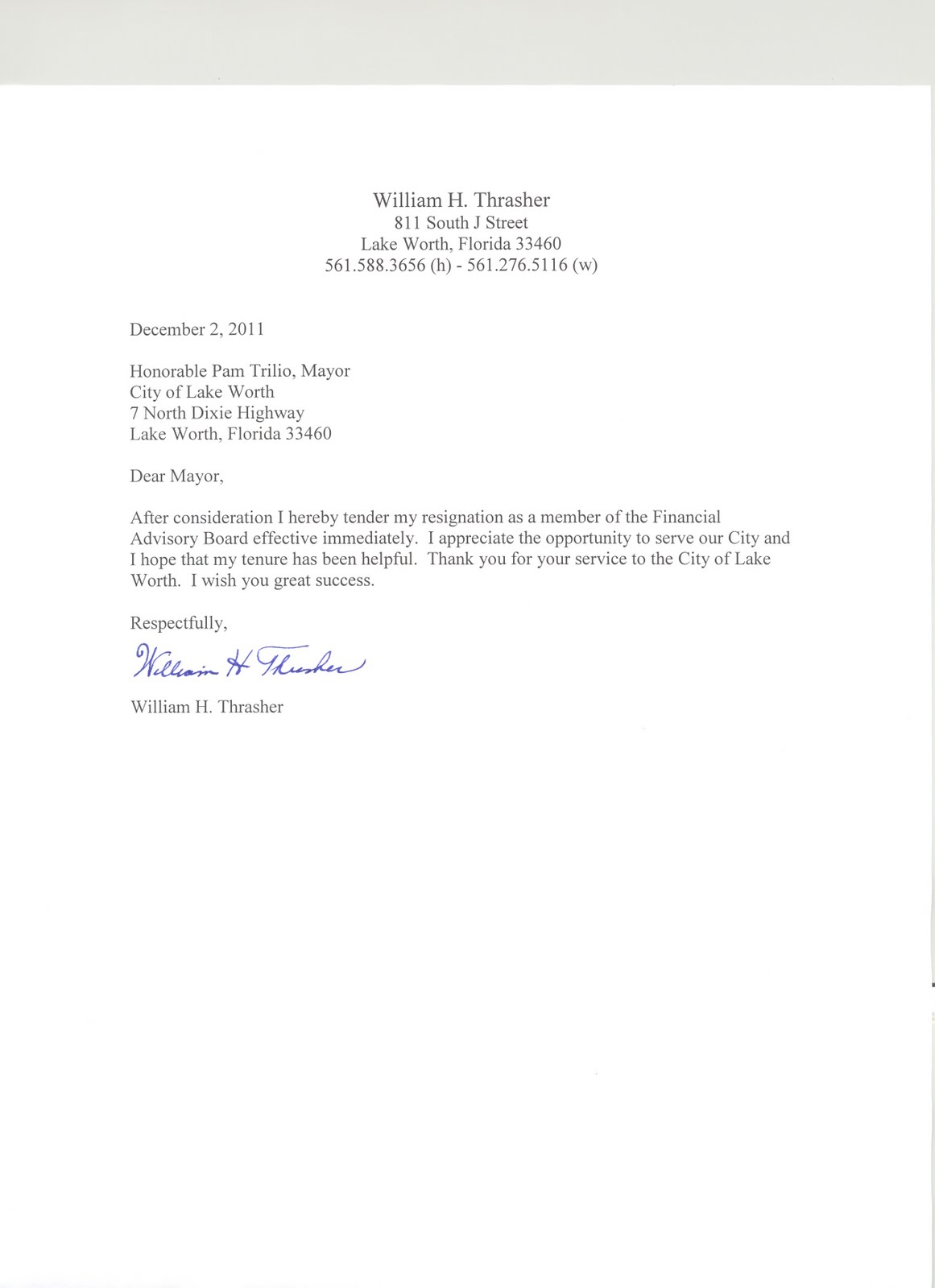lynn 39 s little bit of trivia bill thrasher resignation letter