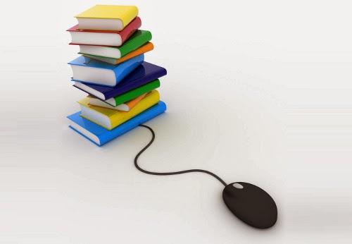 Pilha de livros coloridos conectados a um mouse -- download de ebooks
