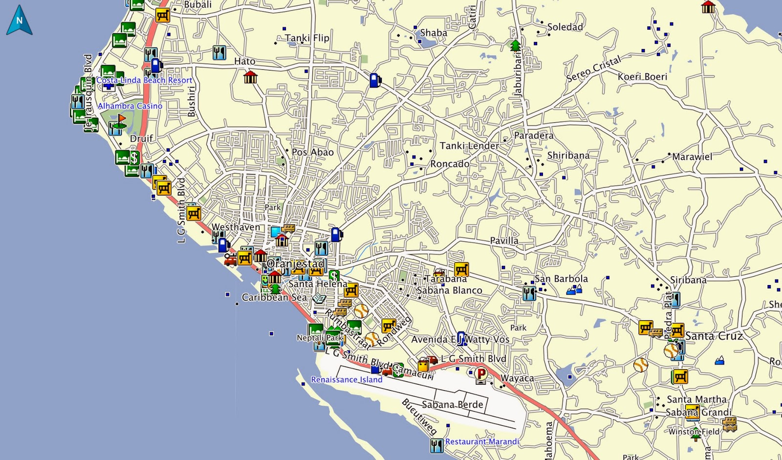 Oranjestad, Map, Garmin, Aruba, GPS, Nuvi
